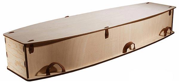 Wayfarer Plywood Leather Handles Coffin